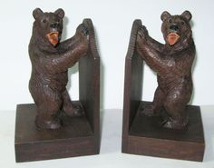BLACK FOREST BEAR BOOKENDS - OPPOSITE CARVED SWISS BEARS