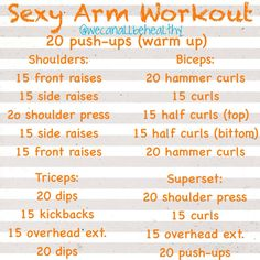 Did this at home arm workout - it was killer! Triceps were way sore the next day! Just added in a few chest  back exercises at the end to make a full upper body workout.