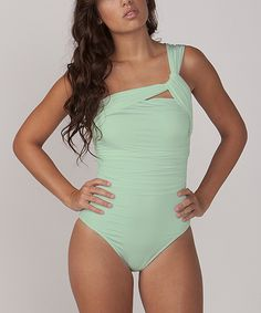Mint Asymmetrical Swimsuit.