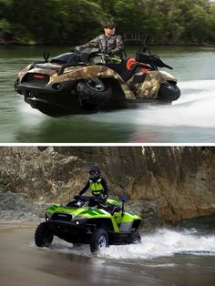 Go from water to dry land with the Quadski amphibian vehicle from Gibbs.
