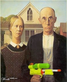 Ancient animal ancestors: historical portraits of cats and dogs American Gothic Painting, American Gothic House, American Gothic Parody, American Art, Grant Wood, Pop Art, Art Grants, Graffiti, Art Institute Of Chicago