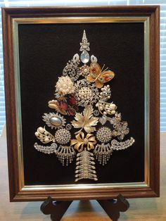 Jewelry Art, Christmas Tree, Vintage Jewelry Pieces, Rhinestones, Stunning Hand Made by Me  Ask a Question $115.00 USD