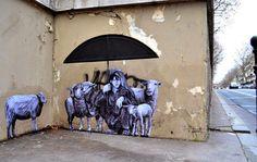 """Street Art by Levalet in Paris, France entitled """"The Shephard"""""""
