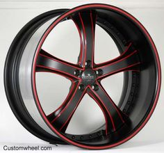 Custom Red and Black Rims | SV33 - Black / Red - Custom Wheels and Performance Tires at ...
