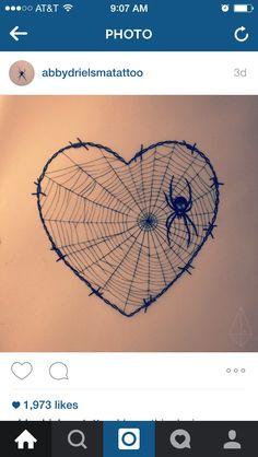 Abbydrielsmatattoo Instagram heart spider spiderweb tattoo