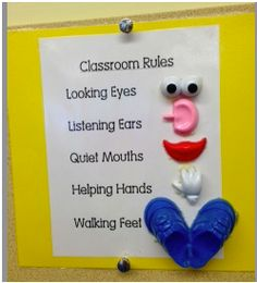 I really like this idea for classroom rules in a first grade class. It s very simple and to the point, yet it is intriguing to the students because of the visuals. Another thing I like is that the rules are all positive, there is no use of the words 'no' or 'don't' in them.