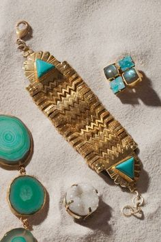 Cleopatra turquoise bracelet handcrafted by regional artisans in India.