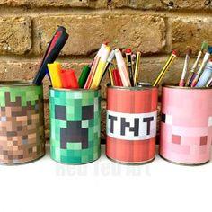 Minecraft Desk Tidy DIY (Printables) - Kids' Crafts for Diy and Crafts Minecraft Crafts, Minecraft Room, Minecraft Designs, Minecraft Houses, Diy Minecraft Decorations, Minecraft Printable, Minecraft Skins, Creeper Minecraft, Minecraft Cake