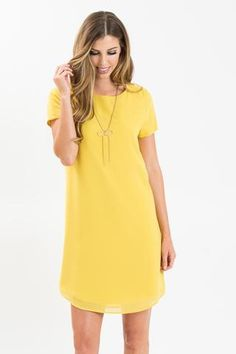 Erin Mustard Short Sleeve Shift Dress