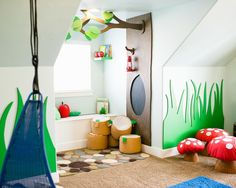 This article on a kids' playroom is not just fascinating, says Too Good to be Threw, but a treasury of ideas for any children's consignment or resale shop... for decor, fixtures, or display props!