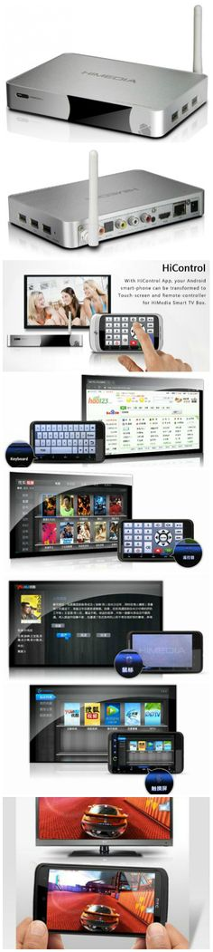The HiMedia Q5 Android media player is an Android OS based set top box and media player. It comes with the proprietary HiControl app that turns any Android phone or tablet into a keyboard, remote control or touch pad controller for the HiMedia Q5. The HiControl app even mirrors the display on the TV and lets you use your phone as an accelerator / G-sensor controller for Android games.