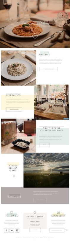 Risotteria Melotti, Restaurant design website, pastel colors