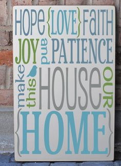 Our Home Subway Art Handpainted Wooden Sign.