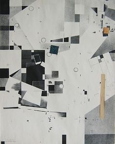 Kurt Schwitters, Lithograph in black tones with 3 collage elements Work Date: 1923