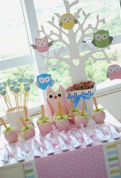 arbol Owl Birthday Parties, Baby Birthday, Baby Shawer, Baby Owls, Shower Bebe, Girl Shower, Girls Party Decorations, Baby Shower Decorations, Baby Decor