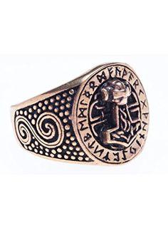 e135525ccbca bronzener Vikingo Anillo con runas y Thor Martillo Anillo de bronce LARP  Vikingo Medieval diferentes tamaños
