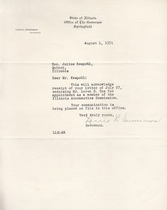 Signed 1931 Letter from Louis L. Emmerson Governor of Illinois to Julius Kespohl of Quincy IL