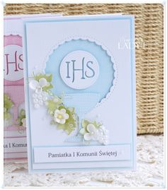 Scrapbooking, handmade cards and papercrafts by Lady E. Vintage, chipboards, shabby and more. Christian Cards, First Communion, Cute Cards, E Design, Holi, Embellishments, Wedding Day, Paper Crafts, Handmade Cards
