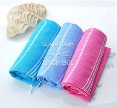 Beach Style Summer Beach Fashion Set of 3 Turkish Towels -  Sarong Pareo Wrap Linen Peshtemal Bath Towels Summer Dress Woman Turkish Bath