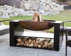 This one of a kind modern floating fireplace will take your breath away. 36 bowl diameter, with plenty of storage space underneath for wood and what not. Built solid, built to last. The perfect element to bring together your backyard landscape. Fire Pit On Wood Deck, Metal Fire Pit, Cool Fire Pits, Fire Pit Area, Fire Pit Backyard, Wood Burning Fire Pit, Fire Fire, Fire Pit Bowl, Fire Bowls