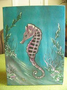 Seahorse Folk Art~Mermaid Pet Painting  OOAK Nursery Decor Beach Ocean Beach