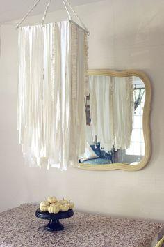 DIY oversized fabric garland chandelier via a beautiful mess Fabric Chandelier, Fabric Garland, Chandelier Ideas, Ceiling Chandelier, Diy Garland, Chandelier Shades, Garlands, Chandeliers, Diy Luminaire