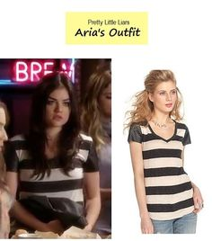 "Aria's (Lucy Hale) striped tee with faux leather sleeves Pretty Little Liars - ""Turn of the Shoe"""