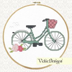 British Bicycle Flowers Bike Modern Cross Stitch by VickieDesigns, $5.00