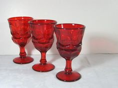 Vintage RUBY RED Fostoria Argus Wine Goblets Set/3 Holiday Style!  by LavenderGardenCottag