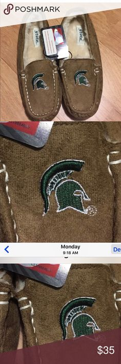 MICHIGAN STATE UNIVERSITY MOCCASINS BRAND NEW⭐️⭐️⭐️ MSU MOCCASINS⭐️⭐️⭐️.   Nice, cozy, furry and warm for the MSU FAN. Officially licensed collegiate product.    🚫NO TRADES🚫. Shoes Moccasins