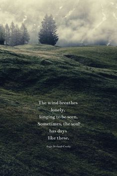 """soul quote about loneliness with a field, fog, & trees.""""The wind breathes lonely, longing to be seen. Sometimes, the soul has days like these. Peace Quotes, Wisdom Quotes, Words Quotes, Sayings, Lonely Heart Quotes, Being Lonely Quotes, Free Soul Quotes, Quotes About Being Alone, Moon Love Quotes"""
