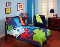 "Garanimals ""Dino-Mite"" Dinosaurs 4-piece Toddler Bedding Set, Blue and Red Comforter Set for Boys"