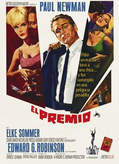 "Movie poster, ""El Premio"", 1963, starring Paul Newman and Elke Sommer"