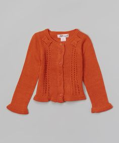 Copper Nectar Shoulder Bow Cardigan - Girls #zulily #ad *perfect for Oct