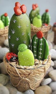 44 Beauty and Cute Rock Painting Ideas : Painted rocks diy, Painted rock cactus,. 44 Beauty and C Cactus Rock, Painted Rock Cactus, Painted Rocks, Cactus Cactus, Indoor Cactus, Stone Crafts, Rock Crafts, Diy Crafts, Rock Painting Patterns