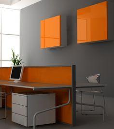 Orange Grey Office Decor