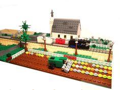 Details of combine, train, & such. Micro Lego, Lego Building Blocks, Harvest, Photo And Video, Bricks, Holiday Decor, Train, Mini, Brick