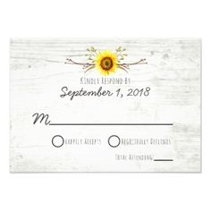 Sunflower Rustic Wood Farm Wedding Invitation RSVP - rustic country gifts style ideas diy