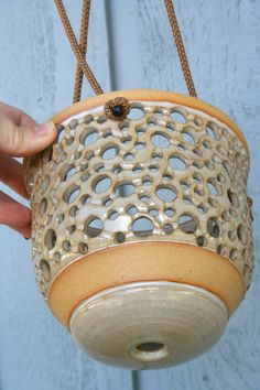 Hanging Stoneware Orchid Pot Hanging Air by MovingMudPottery