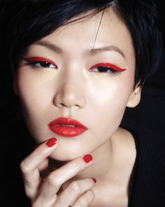 Red eyeliner & lips with red nails
