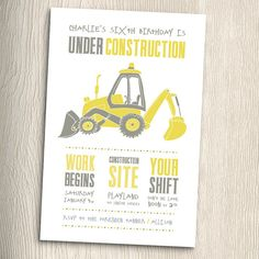 Construction Birthday Party Invitation with matching Thank You Cards Printable DIY by PaintByInvite on Etsy Construction Birthday Invitations, Construction Birthday Parties, Construction Party, 4th Birthday Parties, Birthday Fun, Birthday Party Invitations, Birthday Ideas, Print Invitations, Invitation Wording