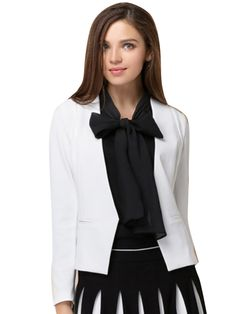 Slim Solid V-Neck Long Sleeve White Coat