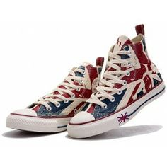 8c350b0ac3df Converse Shoes Blue Red English Flag Rag Chuck Taylor Classic Canvas  Sneakers Hi Tops
