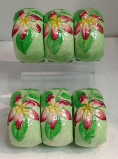 SET OF 6 APPLE BLOSSOM CARLTON WARE NAPKIN RINGS ............ GREAT CONDITION | eBay