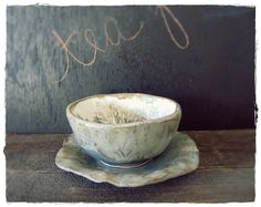 Isn't the simplicity of this lovely?    Porcelain Tea Bowl and Saucer  Nature Hand by farmhousebluesstudio, $40.00
