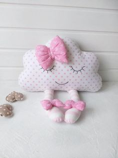 This is a wonderful sleep cloud is an adorable gift for baby shower and also for kids room or nurser Cloud Cushion, Cloud Pillow, Cushion Pillow, Hand Embroidery Videos, Pillow Room, Fabric Toys, Baby Pillows, Baby Furniture, Handmade Baby