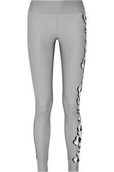 Adidas by Stella McCartney - Floral-print Climalite Stretch Leggings - Gray - x small