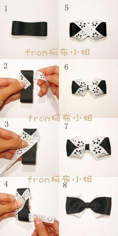 black and white bow.o i love bows! Hair Ribbons, Diy Hair Bows, Making Hair Bows, Ribbon Hair, Hair Tie, Diy Ribbon, Ribbon Work, Ribbon Crafts, Diy Vetement