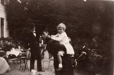 1898 : Empress Maria of Russia giving a piggy-back ride to Edward, Prince of Wales ( future Duke of Windsor)