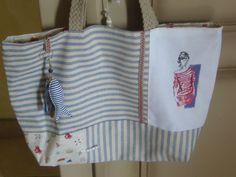 Collection Esprit Bord de Mer coton rayé Sac de plage Marinière brodée main sur lin blanc doublé : Autres sacs par l-atelier-de-diane